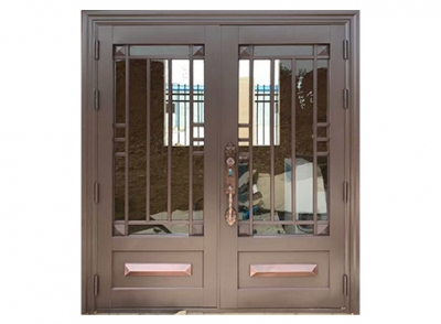 仿铜玻璃门